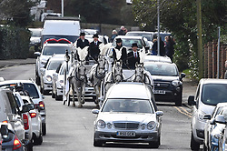 "© Licensed to London News Pictures. 13/02/2020. Sevenoaks, UK. The coffins make their way to St John the Baptist church in Sevenoaks, Kent for he funeral of traveller brothers Billy and Joe Smith. The twin brothers, who were made famous by the television programme ""My Big Fat Gypsy Wedding"", were found hanged in woodland three days after Christmas. Photo credit: Ben Cawthra/LNP"