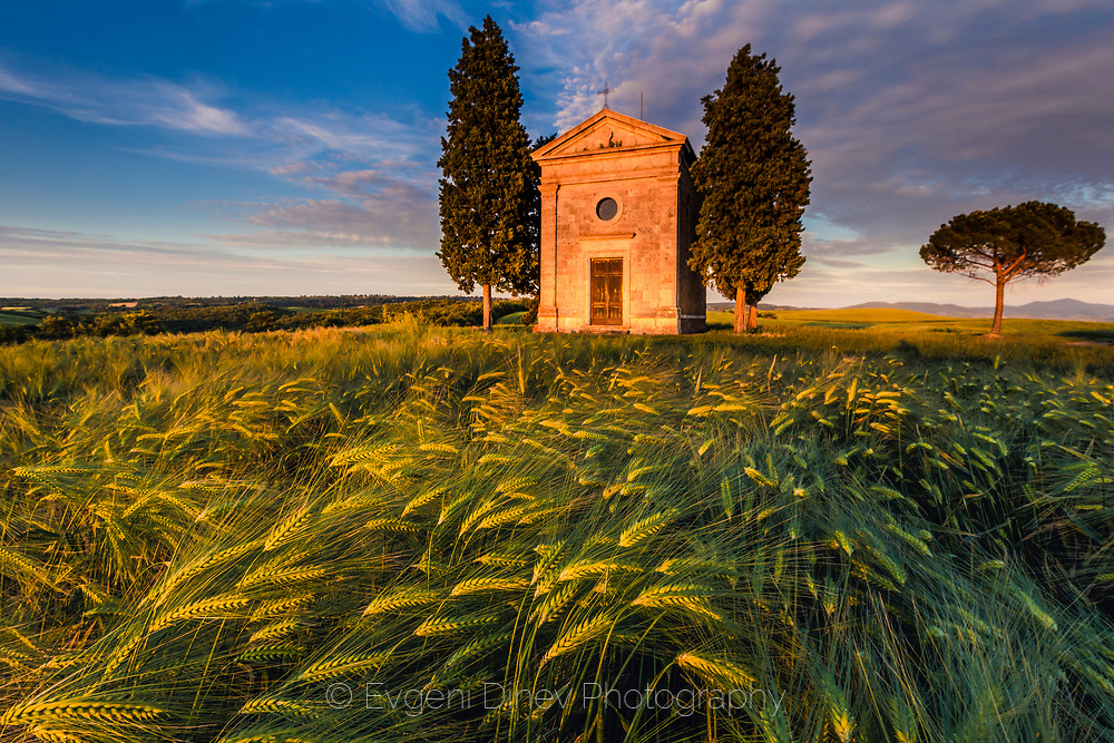 Chapel of Our Lady of Vitaleta at sunset