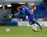 Kenneth Zohore of Cardiff city (10) is fouled by Chris Basham of Sheffield United. EFL Skybet championship match, Cardiff city v Sheffield Utd at the Cardiff City Stadium in Cardiff, South Wales on Tuesday 15th August 2017.<br /> pic by Andrew Orchard, Andrew Orchard sports photography.