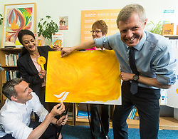 Willie Rennie visits mental health charity, Health In Mind and takes part in painting Liberal Democrat Logos before officially launching the Manifesto for the 2017 General Election.<br /> <br /> <br /> Pictured: Alex Cole-Hamilton MSP, Aisha Mir, Candidate for Edinburgh South West, Elizabeth Riches candidate for North East Fife and Willie Rennie
