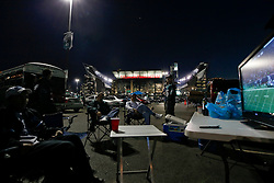 Philadelphia Eagles fans watch a football game in the parking lot during a tailgate before the NFL game between the Dallas Cowboys and the Philadelphia Eagles on November 8th 2009. The Cowboys won 20-16 at Lincoln Financial Field in Philadelphia, Pennsylvania. (Photo By Brian Garfinkel)