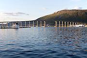 Tromso Bridge, cantilever road bridge, city of Tromso, Norway,