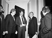 Taoiseach Meets With Unionist Representatives. (N96)..1981..08.10.1981..10.08.1981..8th October 1981..At Government Buildings, An Taoiseach, Dr Garret Fitzgerald, met with representatives of the Northern Ireland Unionist Community. They hoped to discuss on-going problems which were bedeviling the communities in the North of Ireland..Image shows An Taoiseach, Dr Garret Fitzgerald and Businessman Sean Hall sharing a joke with a government official.