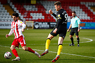 Tom Pett of Stevenage during the EFL Sky Bet League 2 match between Stevenage and Barrow at the Lamex Stadium, Stevenage, England on 27 March 2021.
