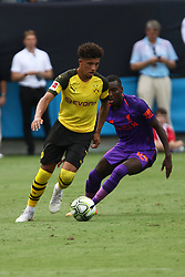 July 22, 2018 - Charlotte, NC, U.S. - CHARLOTTE, NC - JULY 22: Jordon Sancho (7) of Borussia Dortmund with the ball during the International Champions Cup soccer match between Liverpool FC and Borussia Dortmund in Charlotte, N.C. on July 22, 2018. (Photo by John Byrum/Icon Sportswire) (Credit Image: © John Byrum/Icon SMI via ZUMA Press)