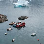 Boats near the small fishing village of Uummannaq, Greenland.