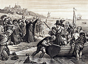 Pilgrim Fathers, members of English Separatist Church sect of Puritans,  leaving Delft Haven on their voyage to America July 1620. 1878 engraving after fresco by CW Cope.