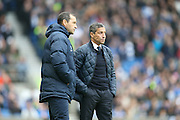 Brighton Manager, Chris Hughton and Brighton Assistant Manager, Colin Calderwood during the Sky Bet Championship match between Brighton and Hove Albion and Huddersfield Town at the American Express Community Stadium, Brighton and Hove, England on 23 January 2016.