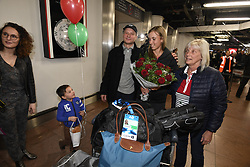 January 27, 2018 - Bruxelles, BELGIQUE - BRUSSELS, BELGIUM - JANUARY 27:  Belgian tennis player Elise Mertens and her father Guido and mother Eliane with young fan (semi finalist at the Australia Open) pictured during her come back in Brussels Airport Belgium on january 27, 2018 in Brussels, Belgium, 27/01/2018 (Credit Image: © Panoramic via ZUMA Press)