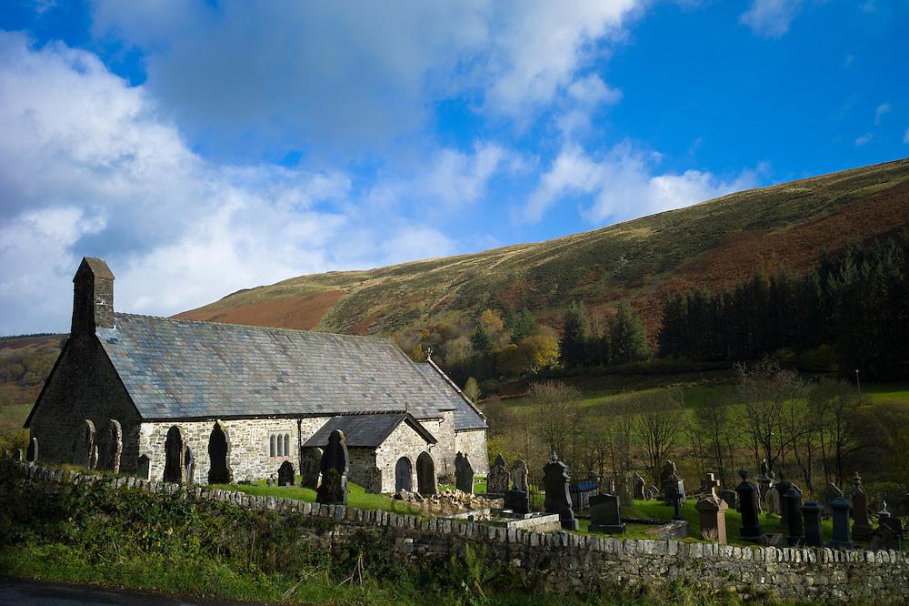 St David's Old Parish Church and graveyard, Church of Wales, in parish of Blaenau Irfon in Brecon Beacons
