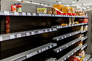 Some empty shelfs at a Supermarket in Oberursel - mostly pasta   and rice are very quick sold out. Otherwise the stores are full of goods.