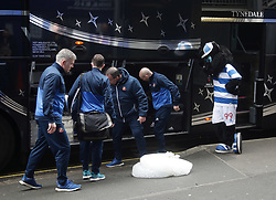 Jude the QPR mascot welcomes the Sunderland staff arriving on their team coach for the Sky Bet Championship match between Queens Park Rangers and Sunderland at Loftus Road, London.