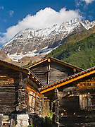 """Historic haylofts are preserved in Lötschental (or Loetschental) in the Valais canton of Switzerland, the Alps, Europe. UNESCO lists """"Swiss Alps Jungfrau-Aletsch"""" as a World Heritage Area (2001, 2007)."""