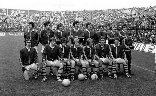 The Kerry team before the All Ireland Senior Gaelic Football Final, Kerry v Dublin in Croke Park on the 28th September 1975. Kerry 2-12 Dublin 0-11.<br /> <br /> P O'Mahony, G O'Keeffe, J O'Keeffe, J Deenihan, P Ó' Sé, T Kennelly, G Power, P Lynch, P McCarthy, B Lynch, D ''Ogie'' Moran, M O'Sullivan (capt), J Egan, M Sheehy, P Spillane, Subs G O'Driscoll for M O'Sullivan.