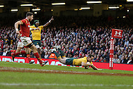 Bernard Foley of Australia dives over to score a try in the 2nd half. Under Armour 2016 series international rugby, Wales v Australia at the Principality Stadium in Cardiff , South Wales on Saturday 5th November 2016. pic by Andrew Orchard, Andrew Orchard sports photography