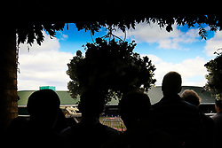 12 July 2017 -  Wimbledon Tennis (Day 9) - Fans silhouetted as they watch the action on the giant TV screen - Photo: Marc Atkins / Offside.