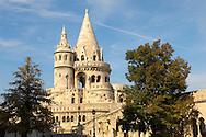 Fisherman's Bastion in the Castle District - Budapest Hungary .<br /> <br /> Visit our HUNGARY HISTORIC PLACES PHOTO COLLECTIONS for more photos to download or buy as wall art prints https://funkystock.photoshelter.com/gallery-collection/Pictures-Images-of-Hungary-Photos-of-Hungarian-Historic-Landmark-Sites/C0000Te8AnPgxjRg