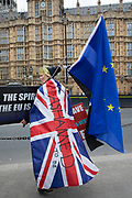 Anti Brexit pro Europe demonstration in Westminster on 27th March 2019 in London, England, United Kingdom. With the date of the UK leaving the European Union extended, the pro EU protest continues as MPs from all sides try to gain control of the process, as they debate the various options in the commons. Ashamed to be British.