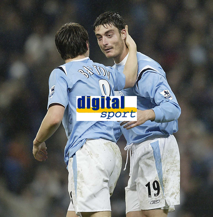 Photo: Aidan Ellis.<br /> Manchester City v Charlton Athletic. The Barclays Premiership. 12/02/2006.<br /> City's Albert Piera congratulates Joey Barton after his wonder strike scored the third goal