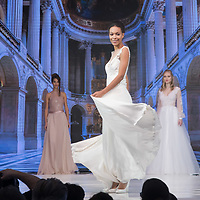 Models present wedding dresses during a fashion show during the Wedding Expo in Budapest, Hungary on Nov. 04, 2017. ATTILA VOLGYI