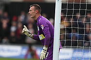 Artur Krysiak, the Yeovil Town goalkeeper looks on. EFL Skybet football league two match, Newport county v Yeovil Town at Rodney Parade in Newport, South Wales on Saturday 7th October 2017.<br /> pic by Andrew Orchard,  Andrew Orchard sports photography.