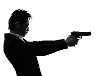 one asian gunman killer portrait shooting in silhouette isolated white background