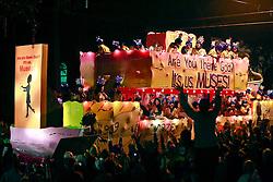 12 Feb 2015. New Orleans, Louisiana.<br /> Mardi Gras. The Krewe of Muses makes its way along Magazine Street.<br /> Photo; Charlie Varley/varleypix.com