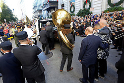 20 November 2015. Orpheum Theater, New Orleans, Louisiana. <br /> Memorial service for musician Allen Toussaint. <br /> Pall bearers remove Toussaint's casket from the theater.<br /> Photo; Charlie Varley/varleypix.com
