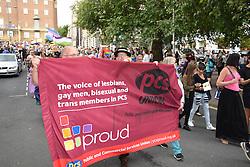 PCS banner, Norwich Pride 30 July 2016 UK
