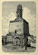 wood engraving of El-Hakim Mosque Minaret From the book 'Picturesque Palestine, Sinai and Egypt : social life in Egypt; a description of the country and its people' with illustrations on Steel and Wood by Wilson, Charles William, Sir, 1836-1905; Lane-Poole, Stanley, 1854-1931. Published by J.S. Virtue in London in 1884