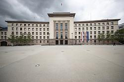 """THEMENBILD - Das Neue Landhaus in Innsbruck ist der Sitz verschiedener Verwaltungseinrichtungen des Landes Tirol. Das Gebäude wurde 1938/1939 in der Zeit des Nationalsozialismus als Verwaltungssitz (""""Gauhaus"""") für den neu eingerichteten Reichsgau Tirol-Vorarlberg errichtet. Über dem Seiteneingang sind noch das Tiroler und das Vorarlberger Wappen zu sehen, die für den Gau standen. Innsbruck, Montag, 13. Mai 2019 // The """"Neues Landhaus"""" in Innsbruck is the seat of various administrative institutions of the federal state of Tyrol. The building was built in 1938/1939 during the period of National Socialism as administrative headquarters (""""Gauhaus"""") for the newly established Reichsgau Tyrol-Vorarlberg. Above the side entrance are still the Tyrolean and the Vorarlberg coat of arms to see, which stood for the Gau. Innsbruck, Monday, May 13, 2019. EXPA Pictures © 2019, PhotoCredit: EXPA/ Johann Groder"""