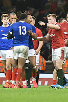 Football - 2020 Guinness Six Nations Championship - Wales vs. France<br /> <br /> Nick Tompkins,  of Wales & Virimi Vakatawa, of France argue after the final whistle, at the Principality (Millennium) Stadium.<br /> <br /> COLORSPORT/WINSTON BYNORTH