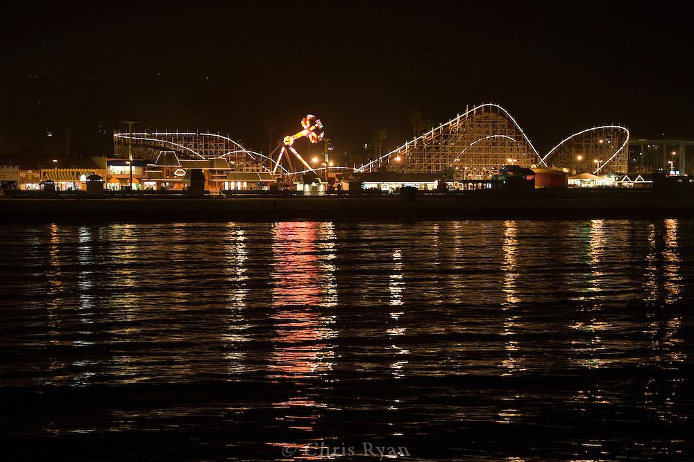 Santa Cruz Beach Boardwalk at night