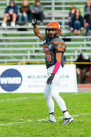 KELOWNA, BC - OCTOBER 6: Donovin Small #46 of Okanagan Sun hand gestures to the bench against the VI Raiders at the Apple Bowl on October 6, 2019 in Kelowna, Canada. (Photo by Marissa Baecker/Shoot the Breeze)