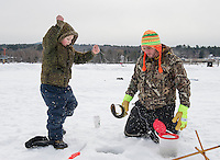 Ice Fishing on Lily Pond in Gilford.  Karen Bobotas for the Laconia Daily Sun