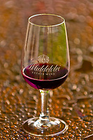 A glass of Pinotage, Middelvlei Estate Wine, Devon Valley, near Stellenbosch (Cape Town area), South Africa