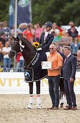 Maree Gerdine (NED) - Dream Boy with breeeder/owner Tim Coomans<br /> FEI World Dressage Championships for Young Horses<br /> Internationales Dressur- und Springfestival - Verden 2014<br /> © Dirk Caremans