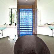 Interior of a bathroom with bathtub