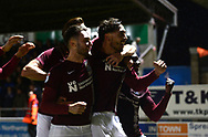Matt Crooks of Northampton Town (r) celebrates with teammates after he scores his teams 2nd goal to put his side 2-0 up.EFL Skybet Football League one match, Northampton Town v Portsmouth at the Sixfields Stadium in Northampton on Tuesday 12th September 2017. <br /> pic by Bradley Collyer, Andrew Orchard sports photography.