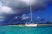 Sailing boat lagoon, Little Cayman, Cayman Islands, British West Indies,