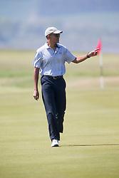 Former US president Barack Obama playing golf at St Andrews.