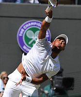 Tennis - 2019 Wimbledon Championships - Week One, Thursday (Day four)<br /> <br /> Men's singles, 2nd Round Jay Clarke (GBR) v Roger Federer (SUI)<br /> <br /> Jay Clarke  on Court 1<br /> <br /> COLORSPORT/ANDREW COWIE