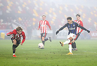 Middlesbrough's Marcus Tavernier with a shot in the second half<br /> <br /> Photographer Rob Newell/CameraSport<br /> <br /> The Emirates FA Cup Third Round - Brentford v Middlesbrough - Saturday 9th January 2021 - Brentford Community Stadium - Brentford<br />  <br /> World Copyright © 2021 CameraSport. All rights reserved. 43 Linden Ave. Countesthorpe. Leicester. England. LE8 5PG - Tel: +44 (0) 116 277 4147 - admin@camerasport.com - www.camerasport.com