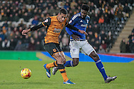 Sammy Ameobi (on loan from Newcastle United) (Cardiff City) tracks back during the Sky Bet Championship match between Hull City and Cardiff City at the KC Stadium, Kingston upon Hull, England on 13 January 2016. Photo by Mark P Doherty.
