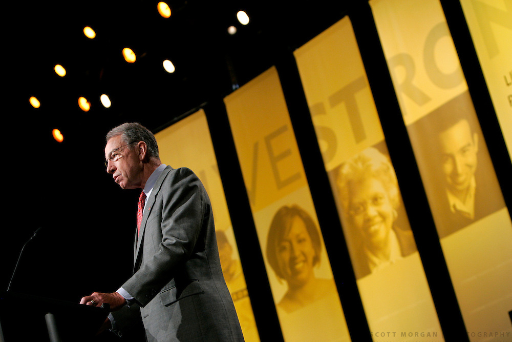 CEDAR RAPIDS, IA - AUGUST 28: Sen. Charles Grassley (R-IA) makes opening remarks at the Livestrong Presidential Cancer Forum, a presidential candidates debate hosted by Lance Armstrong and Chris Matthews of MSNBC at the U.S. Cellular Center August 28, 2007 in Cedar Rapids, Iowa. The hosts questioned the candidates on health related issues including health care and cancer research. (Photo by Scott Morgan/Getty Images)