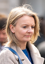 © Licensed to London News Pictures. 11/02/2019. London, UK. Chief Secretary to the Treasury Liz Truss walking through Piccadilly Circus in central London this afternoon. Photo credit : Tom Nicholson/LNP