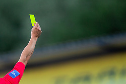 Referee with a yellow card during football match between NK Domzale and NK CB24 Tabor Sezana in 31st Round of Prva liga Telekom Slovenije 2019/20, on July 3, 2020 in Sports park, Domzale, Slovenia. Photo by Vid Ponikvar / Sportida