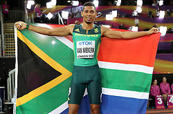 South Africa's Wayde Van Niekerk celebrates winning the gold medal in the Men's 400m final during day five of the 2017 IAAF World Championships at the London Stadium.
