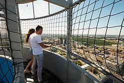 View of Berlin Hi-Flyer observation balloon platform in Mitte Berlin, Germany