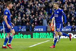 March 9, 2019 - Leicester, Leicestershire, United Kingdom - Jamie Vardy of Leicester City runs to Harvey Barnes of Leicester City to celebrate his second goal of the game during the Premier League match between Leicester City and Fulham at the King Power Stadium, Leicester on Saturday 9th March 2019. (Credit Image: © Mi News/NurPhoto via ZUMA Press)